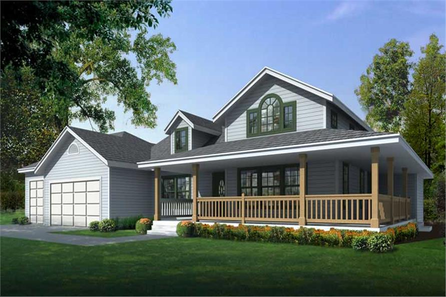 2-Bedroom, 1515 Sq Ft Country Home Plan - 162-1020 - Main Exterior