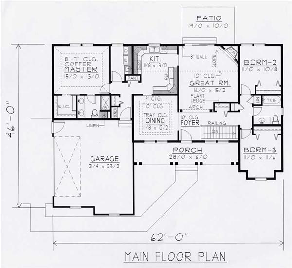 House Plan RDI-1626R1-B Main Floor Plan