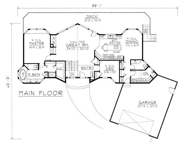 House Plan RDI-1899R1-DB Main Floor Plan
