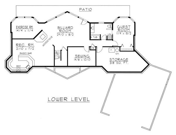 House Plan RDI-1899R1-DB Basement Floor Plan