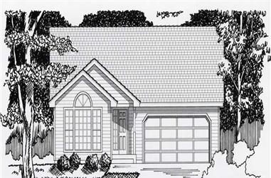 2-Bedroom, 1097 Sq Ft Contemporary House Plan - 162-1023 - Front Exterior