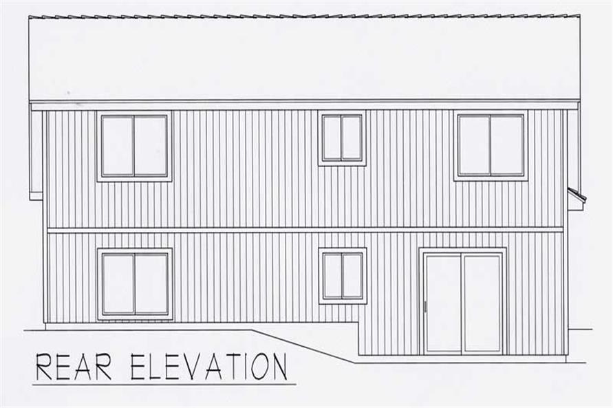 Home Plan Rear Elevation of this 2-Bedroom,1097 Sq Ft Plan -162-1023