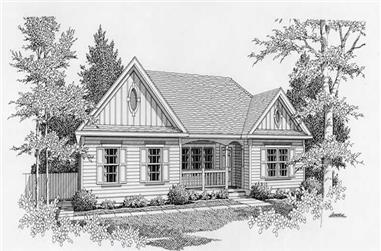 2-Bedroom, 1096 Sq Ft Country House Plan - 162-1024 - Front Exterior