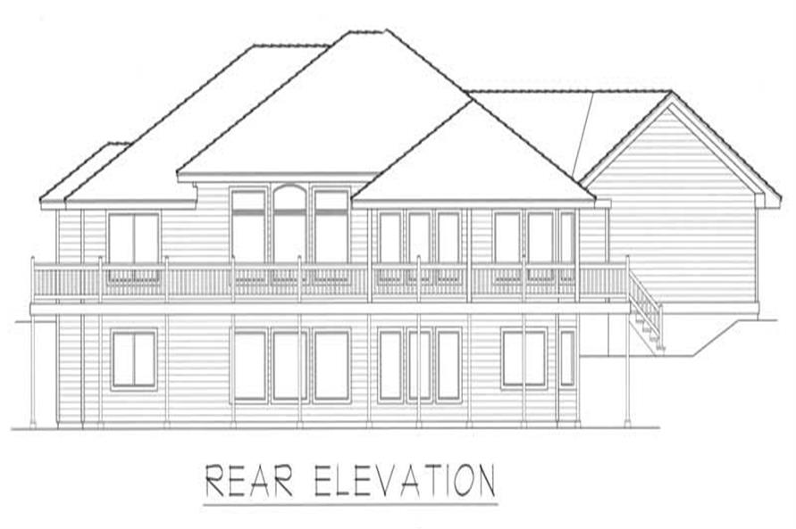 Home Plan Rear Elevation of this 3-Bedroom,2132 Sq Ft Plan -162-1025