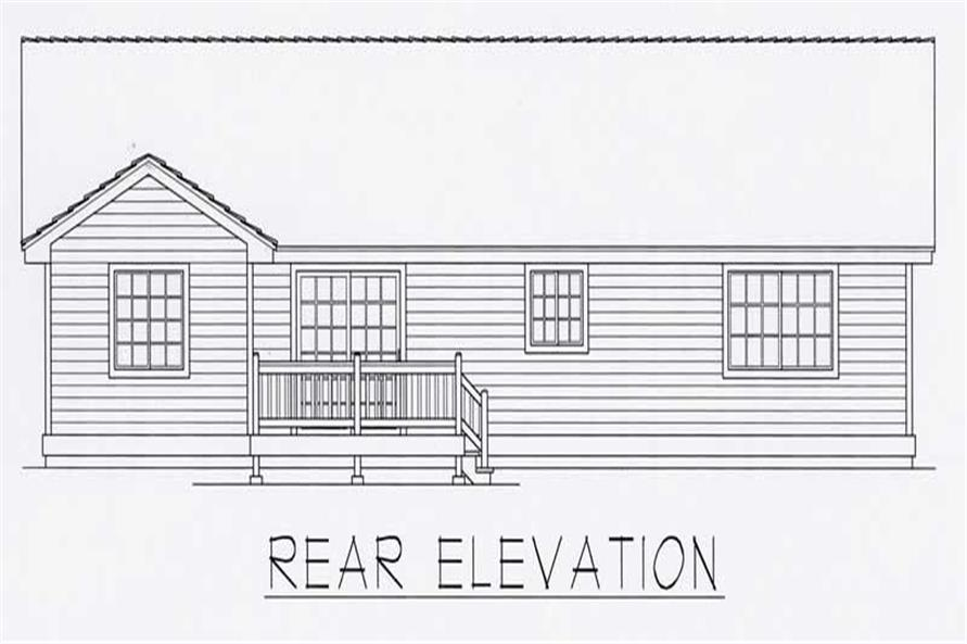 Home Plan Rear Elevation of this 3-Bedroom,1321 Sq Ft Plan -162-1026