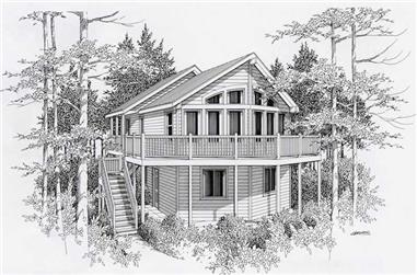 4-Bedroom, 2198 Sq Ft Log Cabin House Plan - 162-1030 - Front Exterior
