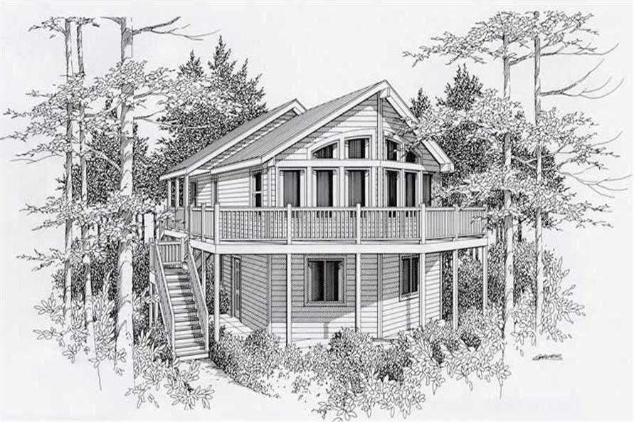 4-Bedroom, 2198 Sq Ft Log Cabin House Plan - 162-1030 - Front Exterior