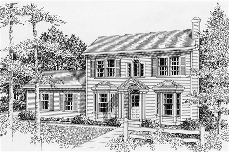 3-Bedroom, 1439 Sq Ft Colonial House Plan - 162-1031 - Front Exterior