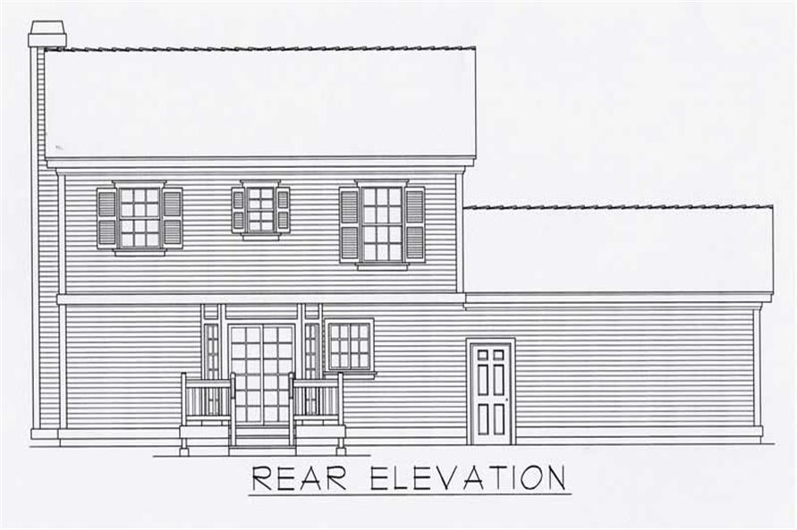 Home Plan Rear Elevation of this 3-Bedroom,1439 Sq Ft Plan -162-1031