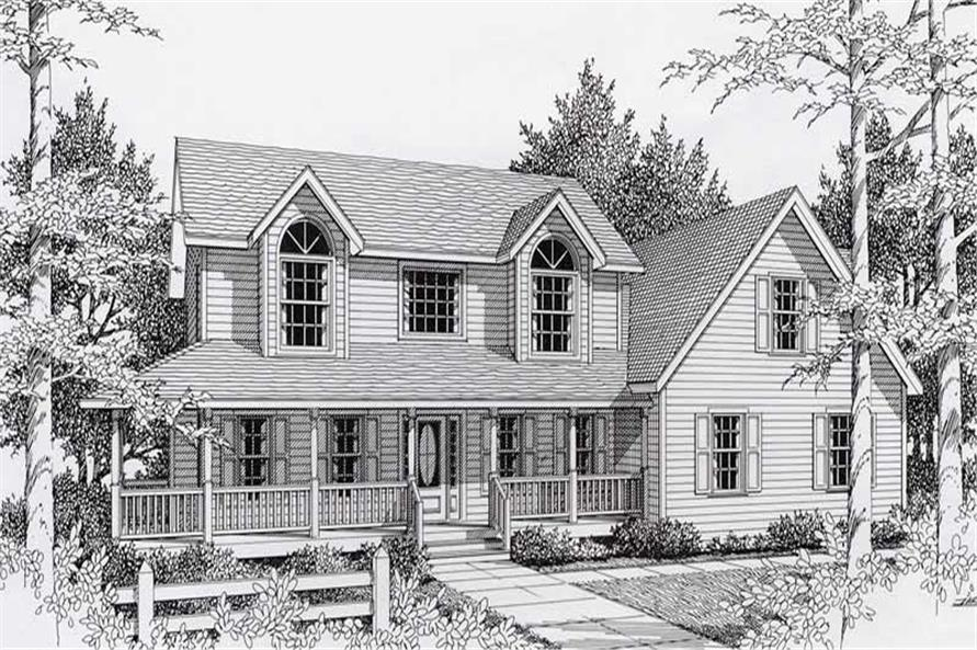 3-Bedroom, 1840 Sq Ft Country House Plan - 162-1032 - Front Exterior