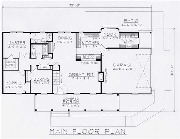House Plan RDI-1610R1-B Main Floor Plan