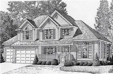 3-Bedroom, 2444 Sq Ft Contemporary House Plan - 162-1035 - Front Exterior
