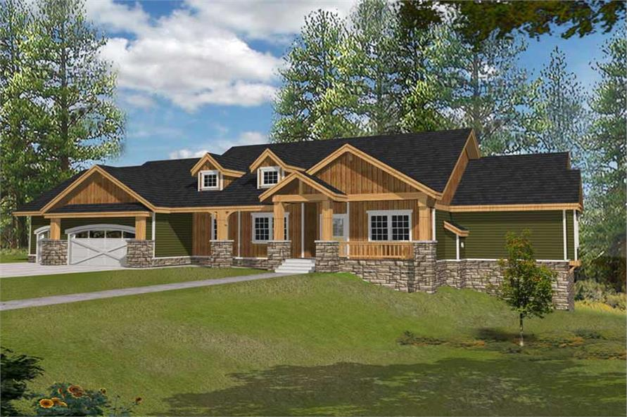 4-Bedroom, 4466 Sq Ft Country Home Plan - 162-1037 - Main Exterior