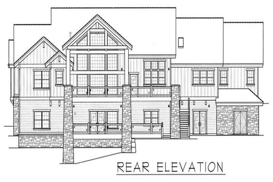 Home Plan Rear Elevation of this 4-Bedroom,4466 Sq Ft Plan -162-1037