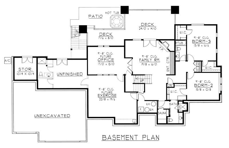House Plan RDI-2846R1-DB Basement Floor Plan