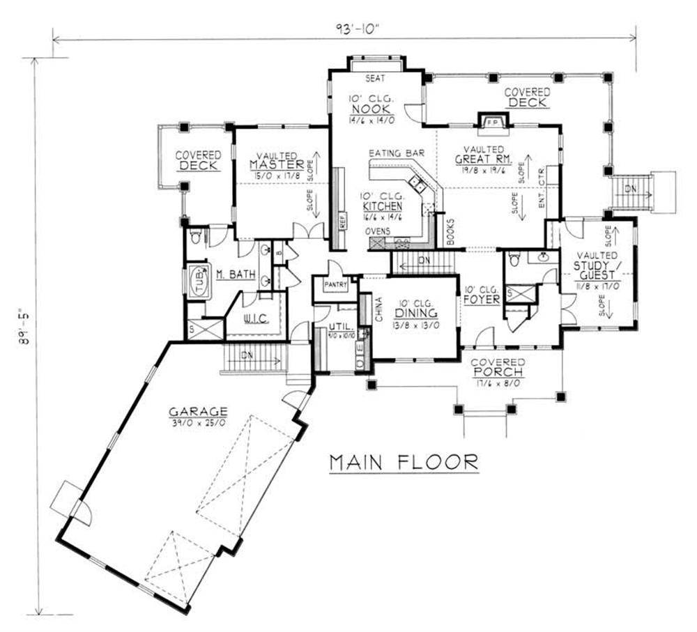 House Plan RDI-2500R1-DB Main Floor Plan