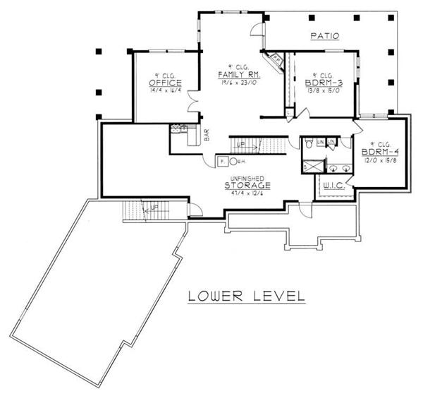 House Plan RDI-2500R1-DB Basement Floor Plan