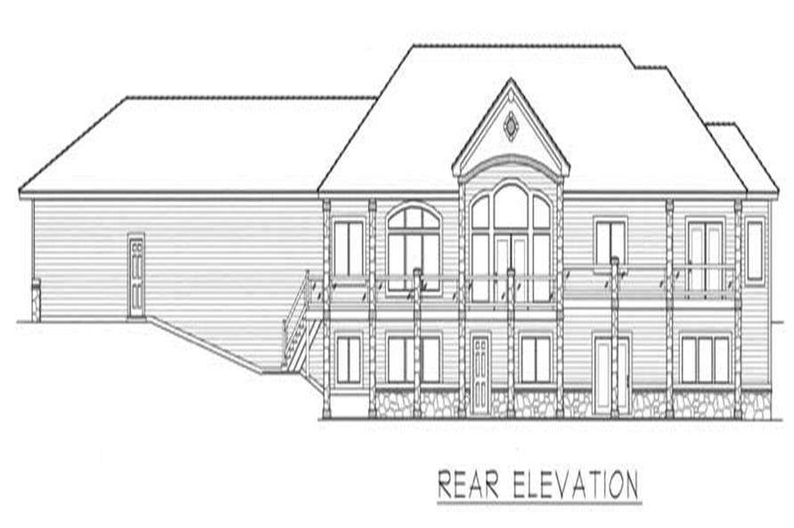 Home Plan Rear Elevation of this 4-Bedroom,5022 Sq Ft Plan -162-1041