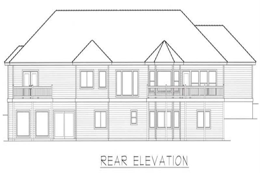 Home Plan Rear Elevation of this 4-Bedroom,5120 Sq Ft Plan -162-1043