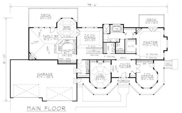 House Plan RDI-2560R1-DB Main Floor Plan