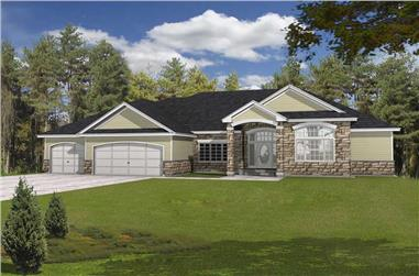 5-Bedroom, 4533 Sq Ft Contemporary House Plan - 162-1044 - Front Exterior