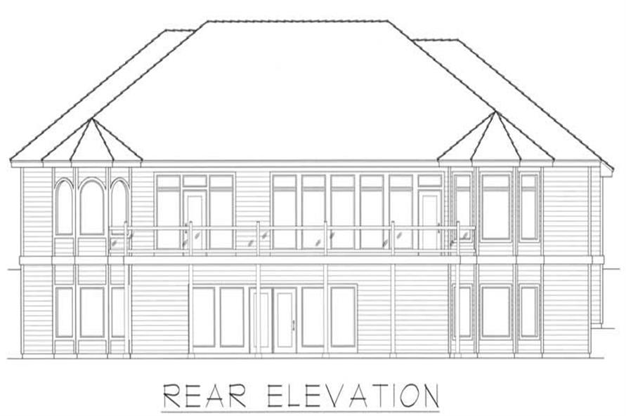 Home Plan Rear Elevation of this 5-Bedroom,4533 Sq Ft Plan -162-1044