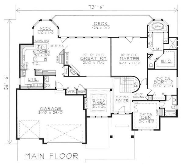 House Plan RDI-2485R1-DB Main Floor Plan
