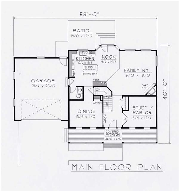 House Plan RDI-2197TS1-B Main Floor Plan
