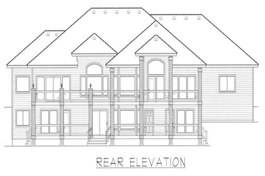 Home Plan Rear Elevation of this 4-Bedroom,4923 Sq Ft Plan -162-1047
