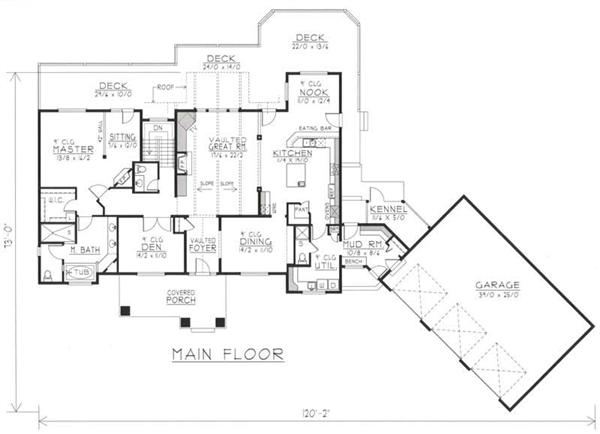 House Plan RDI-2610R1-DB Main Floor Plan