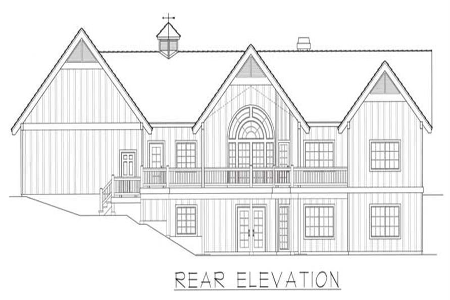 Home Plan Rear Elevation of this 4-Bedroom,4012 Sq Ft Plan -162-1049