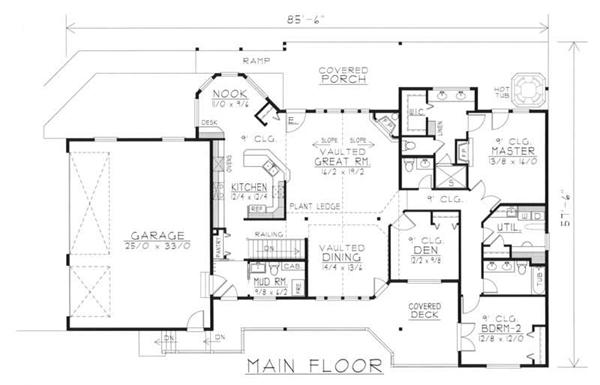 House Plan RDI-2302R1-DB Main Floor Plan
