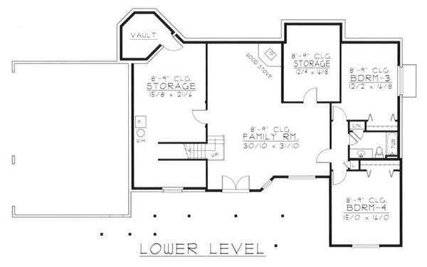 House Plan RDI-2302R1-DB Basement Floor Plan