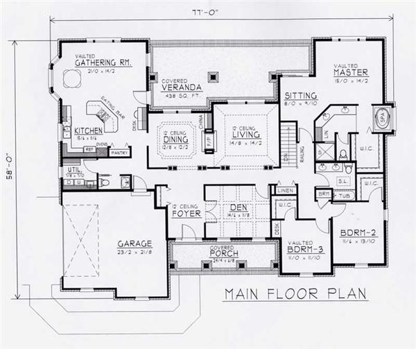 House Plan RDI-2737R1-B Main Floor Plan