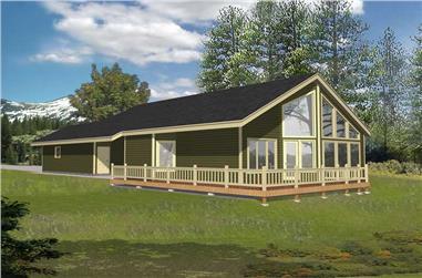 3-Bedroom, 2313 Sq Ft Log Cabin House Plan - 162-1052 - Front Exterior