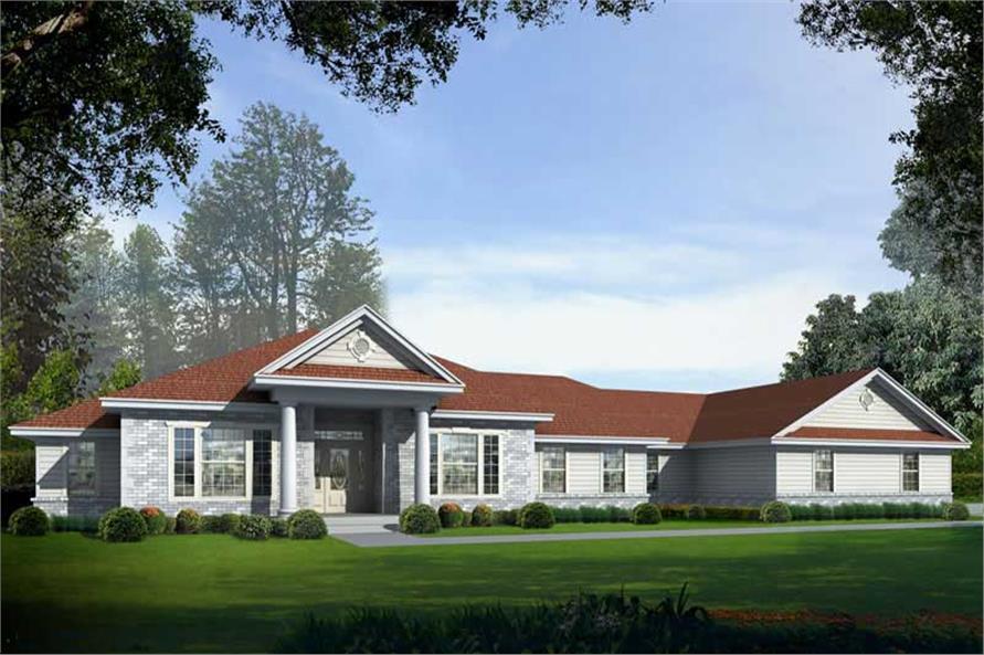 3-Bedroom, 3649 Sq Ft Georgian House Plan - 162-1056 - Front Exterior