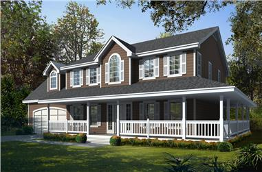 4-Bedroom, 2555 Sq Ft Country Home Plan - 162-1057 - Main Exterior