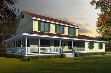 4-Bedroom, 2218 Sq Ft Country House Plan - 162-1060 - Front Exterior
