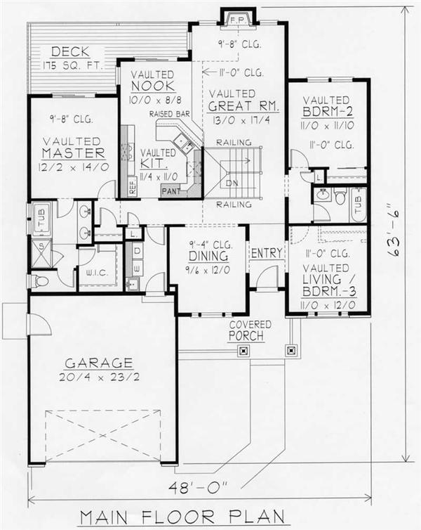 House Plan RDI-1634R1-DB Main Floor Plan