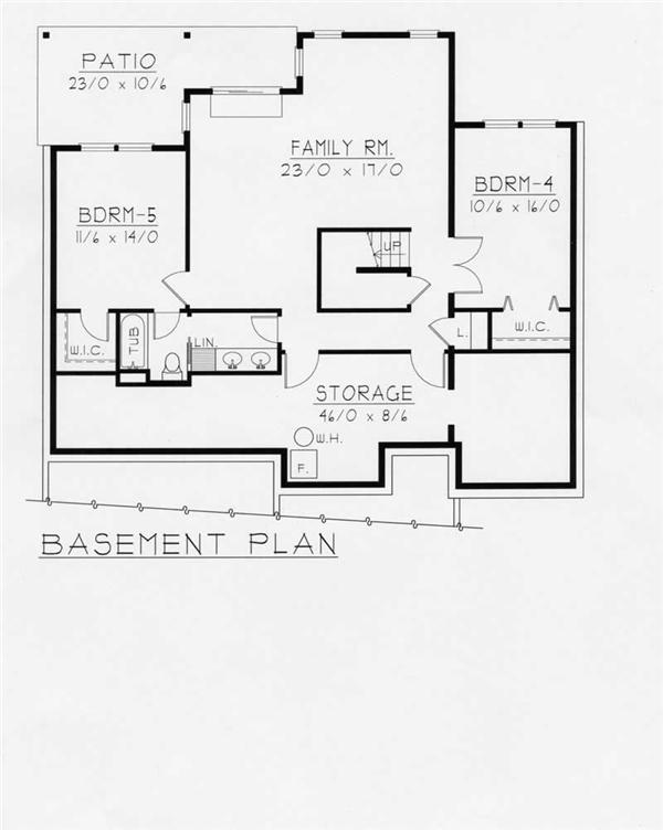 House Plan RDI-1634R1-DB Basement Floor Plan