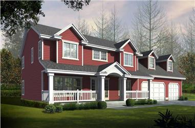 3-Bedroom, 2849 Sq Ft Country House Plan - 162-1062 - Front Exterior