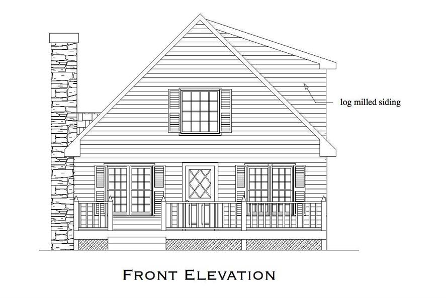 Home Plan Front Elevation of this 2-Bedroom,1053 Sq Ft Plan -163-1000