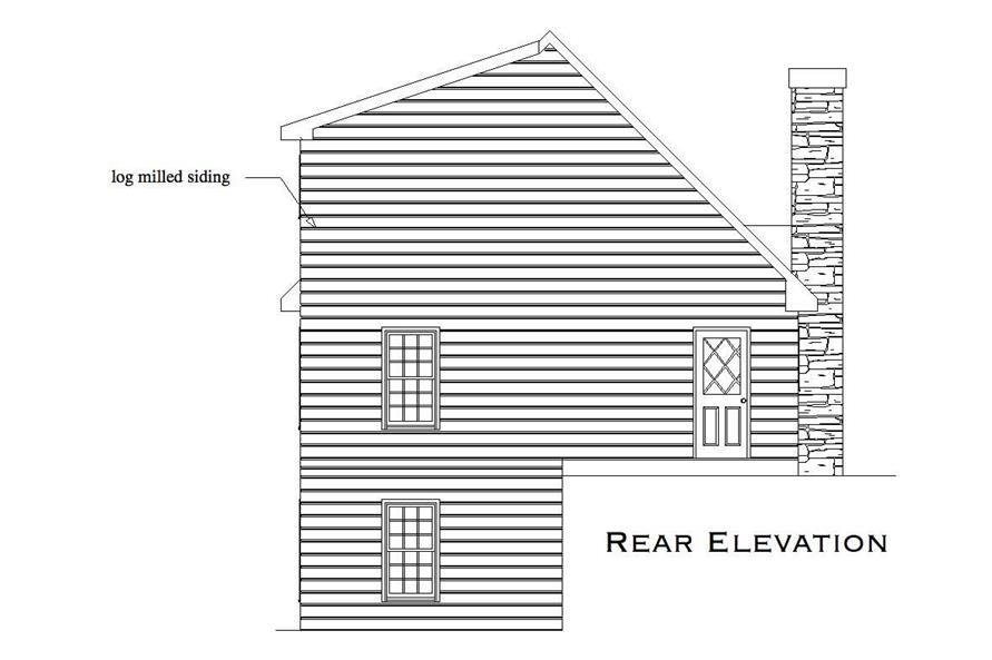 Home Plan Rear Elevation of this 2-Bedroom,1053 Sq Ft Plan -163-1000