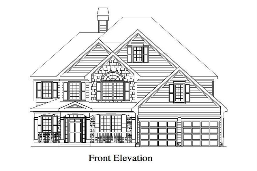 Home Plan Front Elevation of this 4-Bedroom,2757 Sq Ft Plan -163-1001