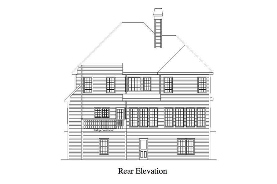 Home Plan Rear Elevation of this 4-Bedroom,2757 Sq Ft Plan -163-1001