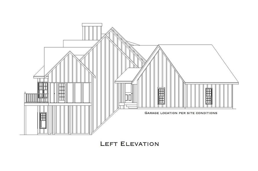 Home Plan Left Elevation of this 4-Bedroom,3045 Sq Ft Plan -163-1007