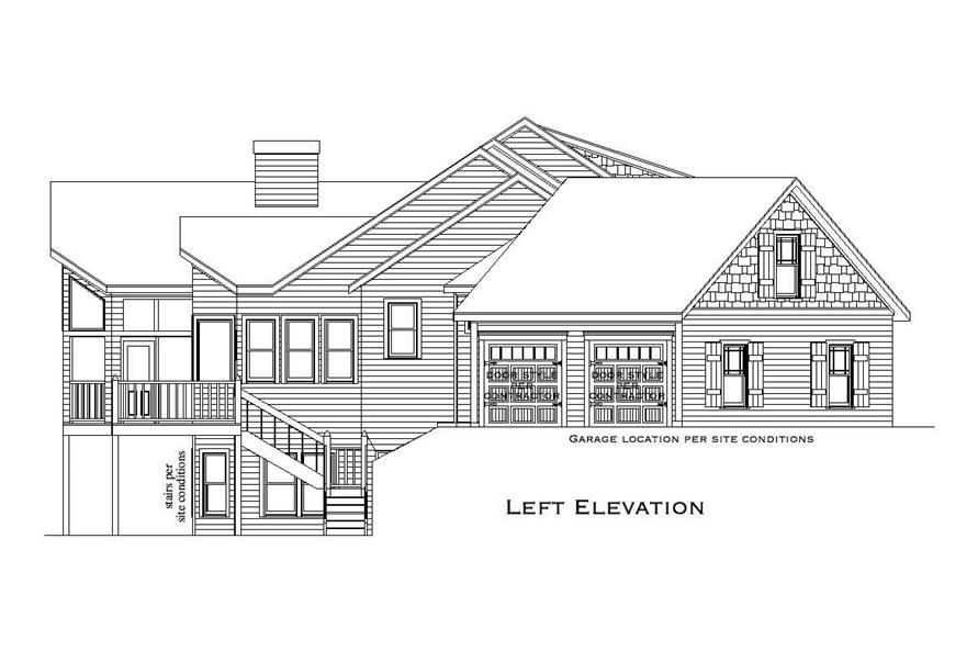 Home Plan Left Elevation of this 3-Bedroom,4045 Sq Ft Plan -163-1008