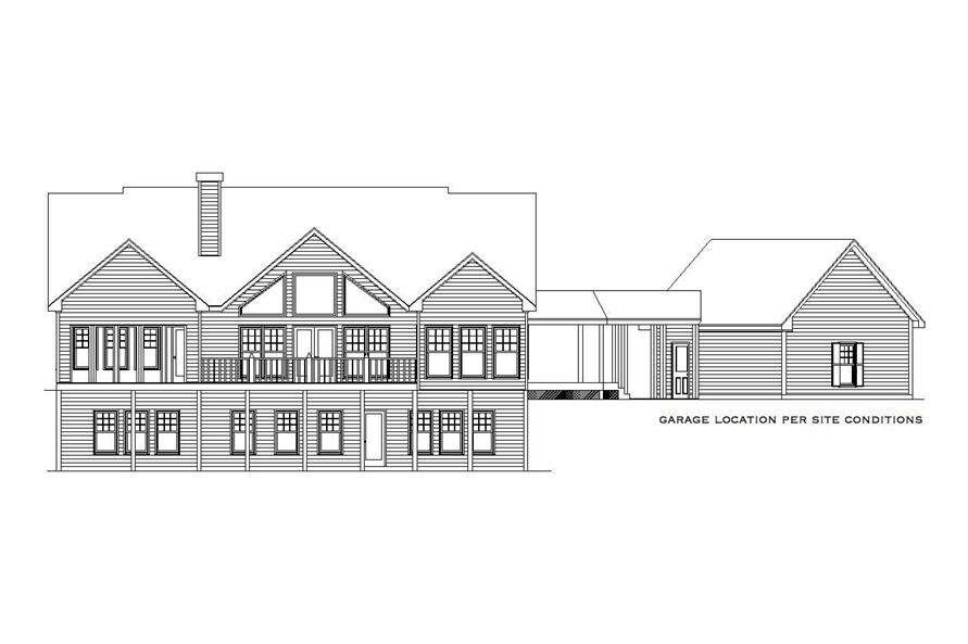 Home Plan Rear Elevation of this 4-Bedroom,2860 Sq Ft Plan -163-1009