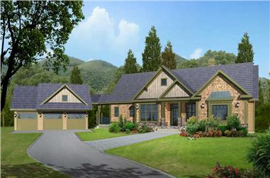 This is a 3D computerized rendering of these Craftsman House Plans.