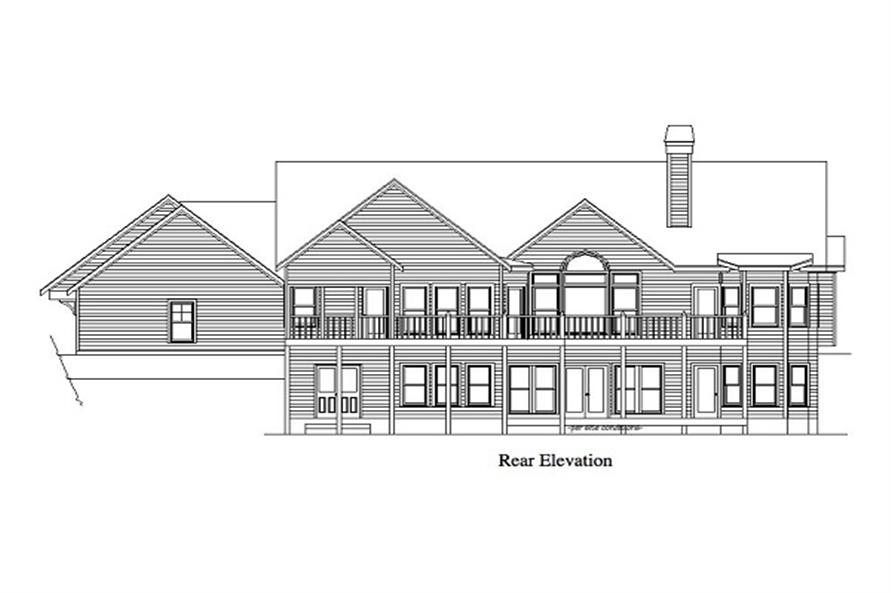 Home Plan Rear Elevation of this 4-Bedroom,2880 Sq Ft Plan -163-1011